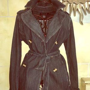 Jackets & Blazers - Stonewashed soft indigo denim short trench coat